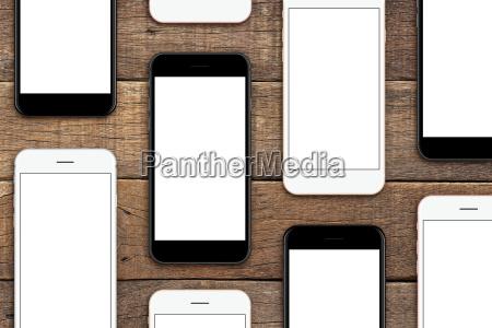 phone set on wood table mock