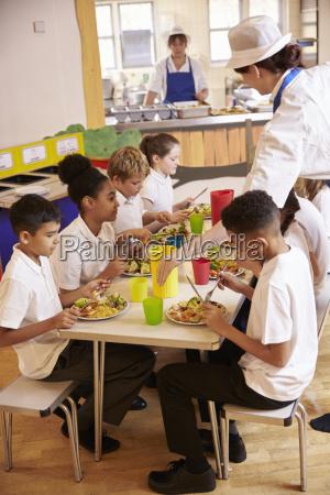 los ninyos de primaria comen almuerzo