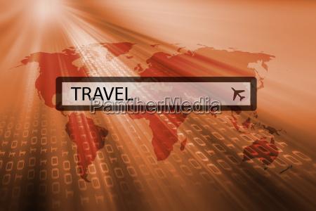 travel written in search bar
