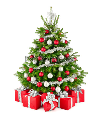 elegant christmas tree and gifts in