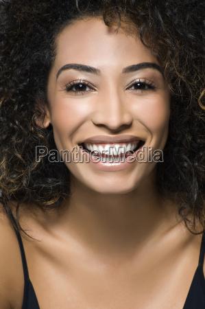 close up studio portrait of happy