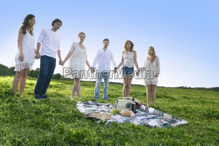 portrait of six young adult friends
