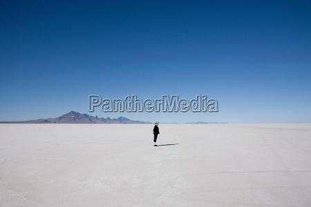 woman standing on the bonneville salt