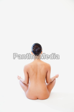 rear view of young nude woman