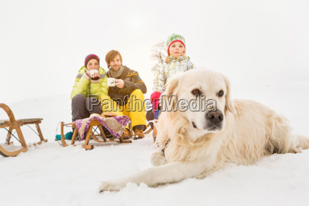 dog lying in snow with family