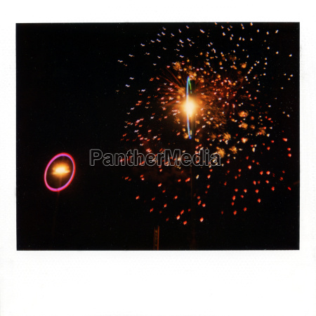 instant film photograph of firework display