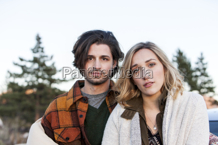 portrait of young couple looking at