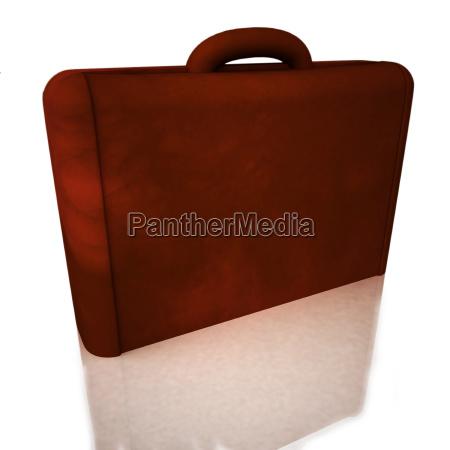 leather suitcase over white reflecting background