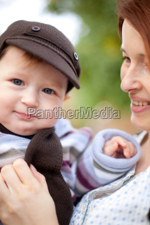 mother and baby son portrait