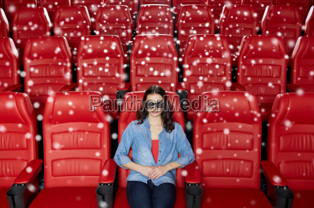 young woman watching movie in 3d