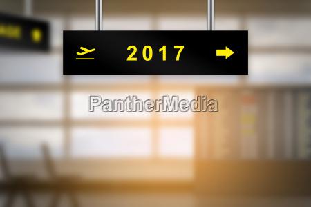 2017 on airport sign board