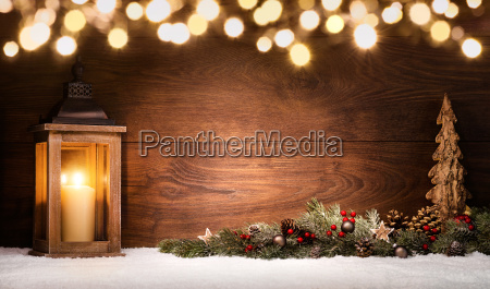 christmas arrangement with lantern christmas decorations