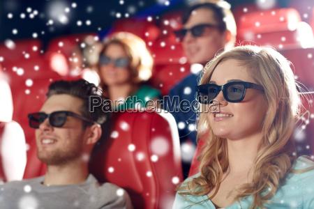 happy friends watching movie in 3d