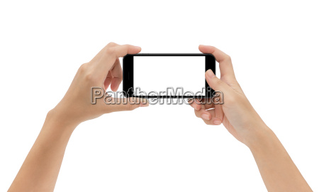 hand holding phone isolated on white