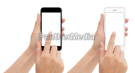 hand touch phone isolated with clipping