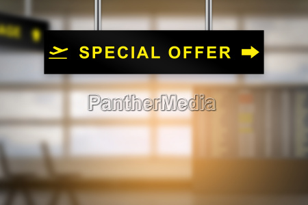 special offer on airport sign board
