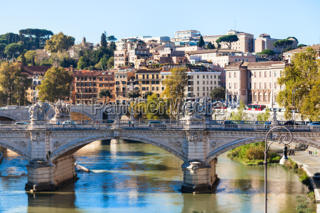 rome city skyline with tiber river