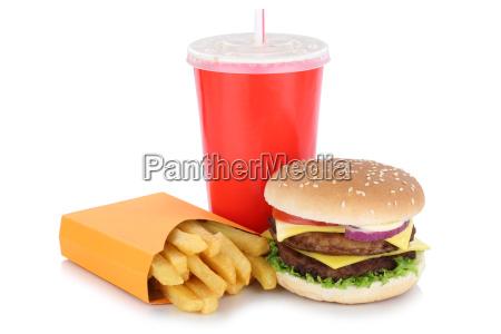 menu double cheeseburger hamburger con patatas