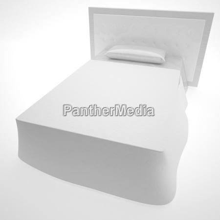 white bed over white background