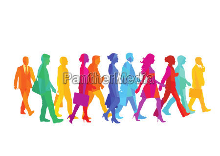 a group of people walking in