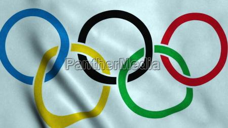 juegos olimpicos bandera ondeando