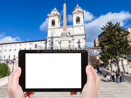 tourist photographs spanish steps in rome