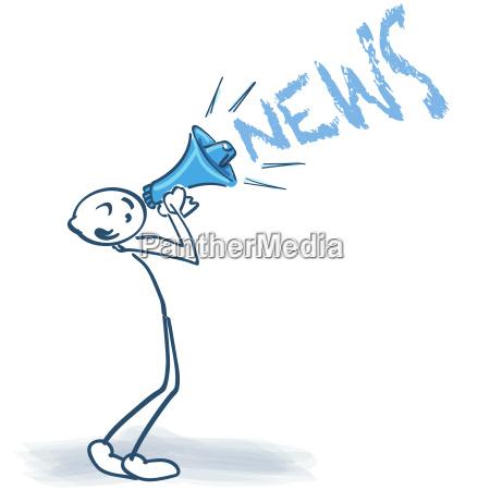 stickmen con megafonos y noticias