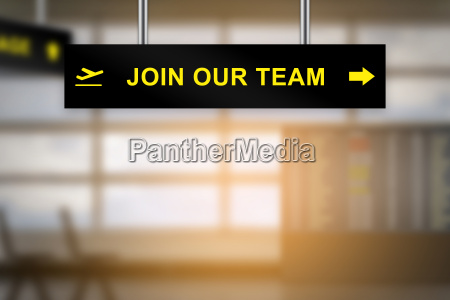join our team on airport sign