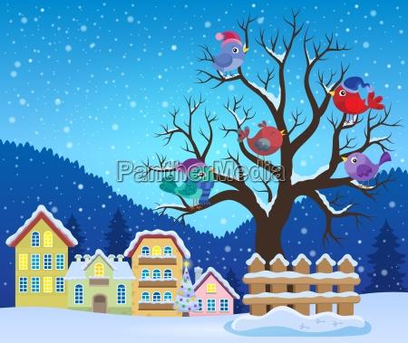 arbol de invierno con los pajaros
