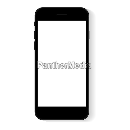 black flat phone white screen vector