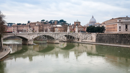 view on tiber river with bridge