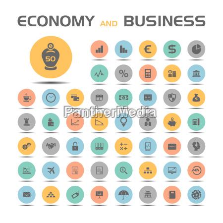 iconos de economia y negocios en