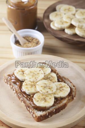 toast with dulce de leche banana
