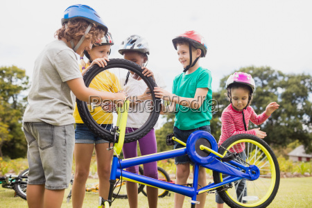 children playing with bike in the
