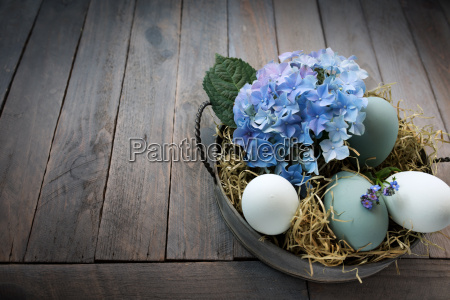 easter eggs in a bowl with