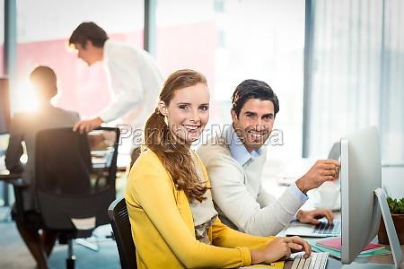 retrato de los ejecutivos que trabajan