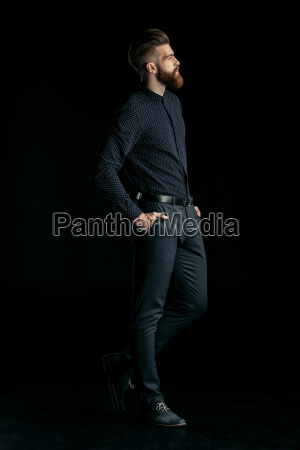 vista, lateral, de, elegante, hombre, barbudo - 20508521