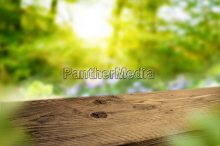 dark wooden table in a spring