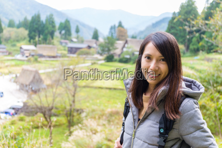 woman travel in shirakawago historic japanese