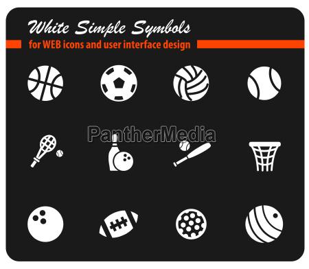 bolas deportivas blanco simplemente simbolos para