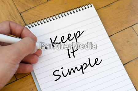 keep it simple concept on notebook