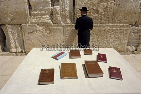 religious books on table and jewish