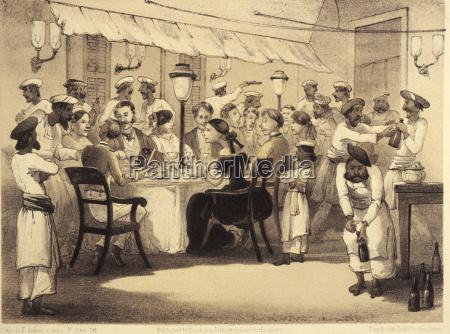 colonialistas britanicos cenando ilustracion del libro