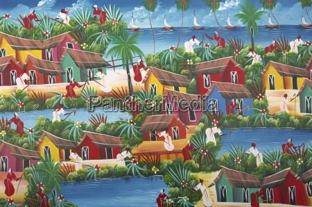 pintura ingenua haitiana zona colonial santo