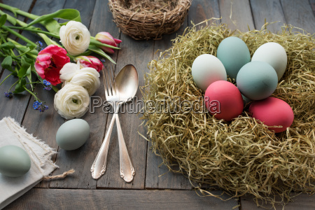 decoration with easter eggs in a