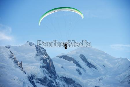 paragliding below summit of mont blanc