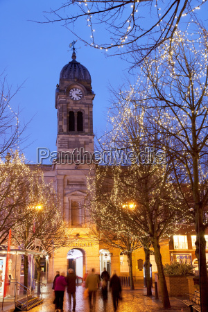 christmas lights and guild hall at