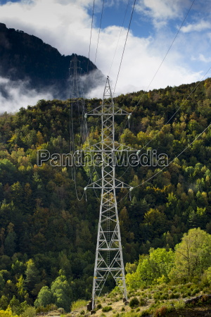 electricity pylons cross the landscape in