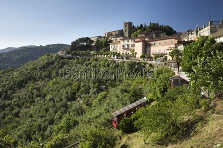 funicular below hill top town montecatini