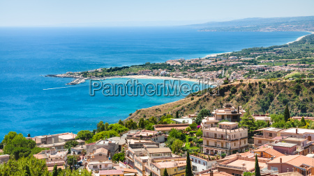 panorama with taormina and giardini naxos